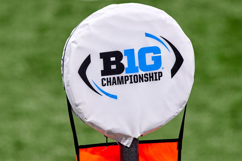 INDIANAPOLIS, IN - DECEMBER 19: A detail view of the Big Ten Championship logo is seen on a field yard marker in action during the Big Ten Championship game between the Ohio State Buckeyes and the Northwestern Wildcats on December 19, 2020 at Lucas Oil stadium, in Indianapolis, IN. (Photo by Robin Alam/Icon Sportswire via Getty Images)