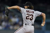 Arizona Diamondbacks starting pitcher Zac Gallen throws to a Los Angeles Dodgers batter during the first inning of a baseball game Monday, Sept. 13, 2021, in Los Angeles. (AP Photo/Marcio Jose Sanchez)