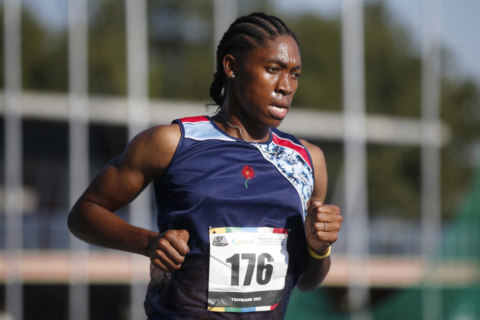 South African middle-distance runner and 2016 Olympic gold medallist Caster Semenya competes in the women's 5000m final during the Sizwe Medical Fund Athletics South Africa Senior Track and Field Championships held at the Tuks Athletics Stadium in Pretoria on April 15, 2021. (Photo by Phill Magakoe / AFP) (Photo by PHILL MAGAKOE/AFP via Getty Images)