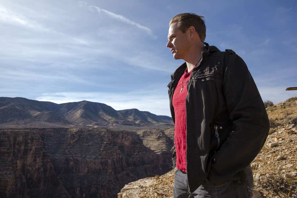 Nik Wallenda looks out at the Grand Canyon.