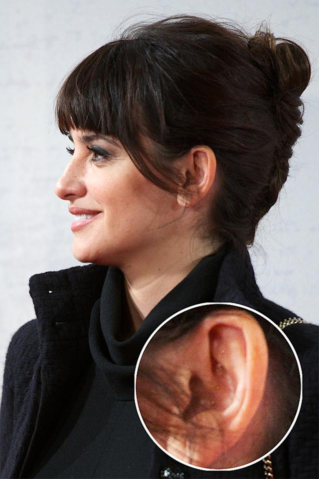 Penelope Cruz was photographed at a recent premiere with a vertical line of gold pins in her ears. While they may look like a fashion statement, they are actually a form of acupuncture called auriculotherapy. It is used to help with fertility and to treat addiction and pain.