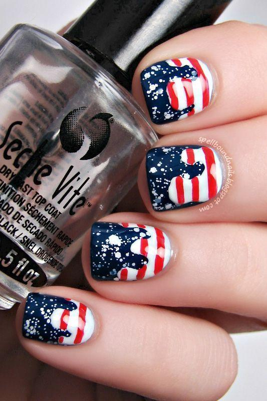 """<p>Are the waves dripping up or are the stripes dripping down? Whichever way you look at it, these wavy red, white, and blue nails are seriously impressive and hella patriotic.</p><p><a class=""""link rapid-noclick-resp"""" href=""""https://go.redirectingat.com?id=74968X1596630&url=https%3A%2F%2Fwww.ulta.com%2Fdry-fast-top-coat%3FproductId%3Dprod6051231&sref=https%3A%2F%2Fwww.goodhousekeeping.com%2Fbeauty%2Fnails%2Ftips%2Fg1278%2Ffourth-of-july-nail-art%2F"""" rel=""""nofollow noopener"""" target=""""_blank"""" data-ylk=""""slk:SHOP TOP COATS"""">SHOP TOP COATS</a></p><p><em><a href=""""http://spellboundnails.blogspot.com/2013/07/patriotic-drips-nail-art-tutorial.html"""" rel=""""nofollow noopener"""" target=""""_blank"""" data-ylk=""""slk:See more on Spellbound Nails »"""" class=""""link rapid-noclick-resp"""">See more on Spellbound Nails »</a></em> </p>"""