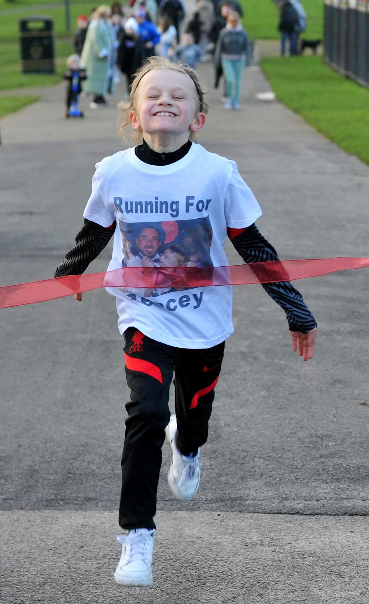 Jordan Banks raised money for charity in January by running over 30 miles in 10 days to celebrate what would have been the 30th birthday of his uncle Reece Begg, who killed himself two years ago. (SWNS)