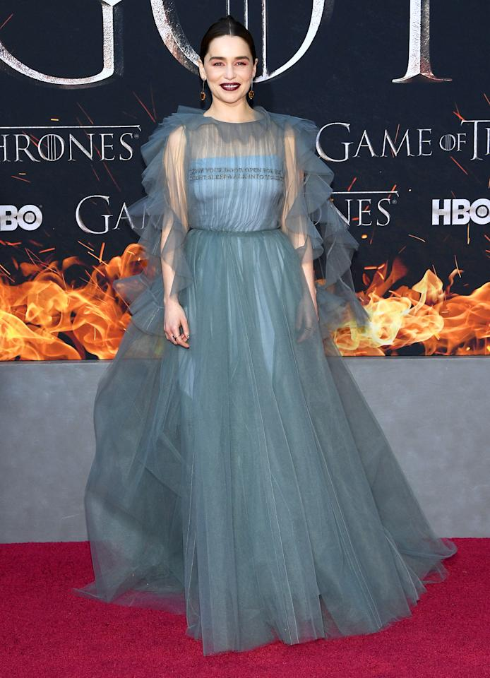 <p>Emilia Clarke proved she's the Queen of the red carpet in sheer Valentino ruffles. <em>[Photo: Getty]</em> </p>