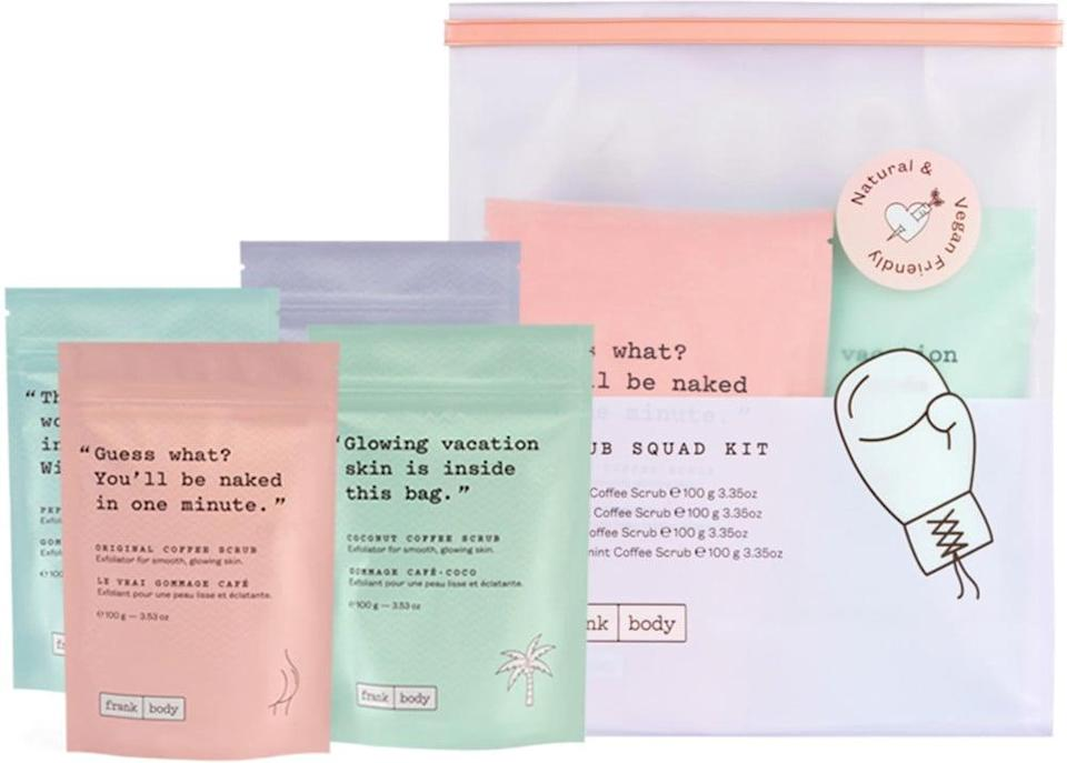 <p>Smooth skin all winter long? The <span>Frank Body Scrub Squad Kit</span> ($40) has got them covered.</p>