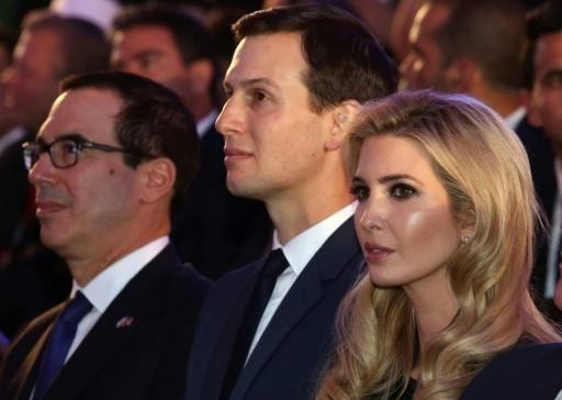 (From R) US President's daughter Ivanka Trump, her husband senior White House adviser Jared Kushner and US Treasury Secretary Steve Mnuchin attend the official reception on the occasion of the opening of the US Embassy at ?the Ministry of Foreign Affairs in Jerusalem, on May 13, 2018