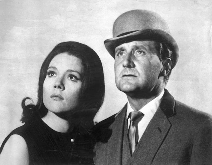 "Patrick Macnee as John Steed was memorably paired with Diana Rigg as Mrs. Emma Peel in the 1960s TV series ""The Avengers."""
