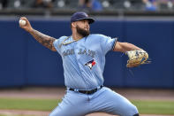 Toronto Blue Jays starting pitcher Alek Manoah throws to a Miami Marlins batter during the first inning of a baseball game in Buffalo, N.Y., Wednesday, June 2, 2021. (AP Photo/Adrian Kraus)