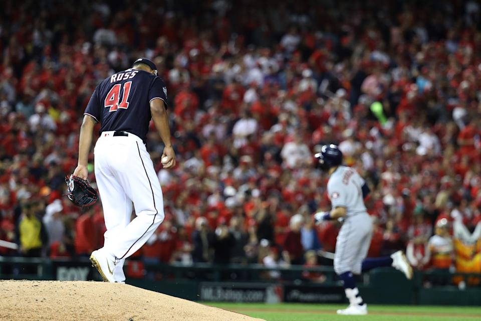 WASHINGTON, DC - OCTOBER 27:  Joe Ross #41 of the Washington Nationals reacts after allowing a two-run home run to Carlos Correa #1 of the Houston Astros during the fourth inning in Game Five of the 2019 World Series at Nationals Park on October 27, 2019 in Washington, DC. (Photo by Rob Carr/Getty Images)