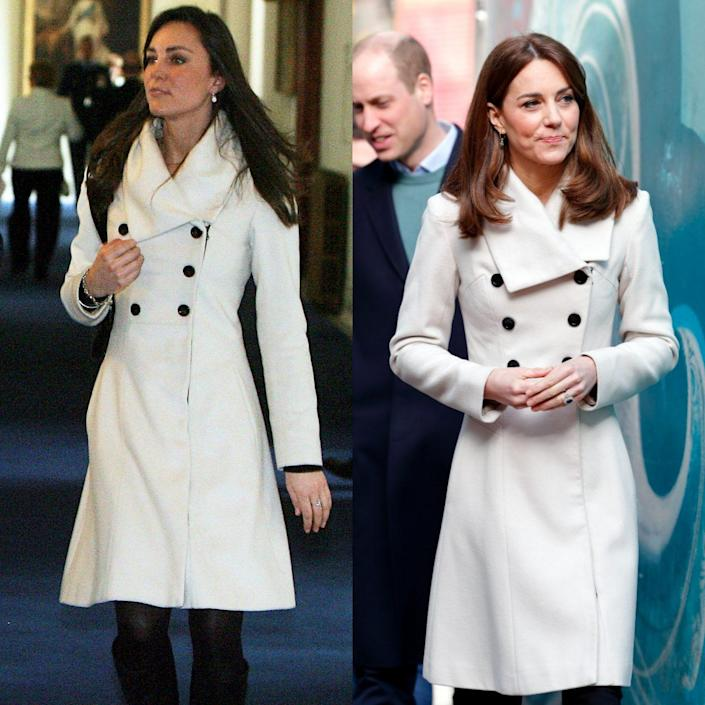 Kate wearing the Reiss 'Olivia' coat in 2008 and 2020