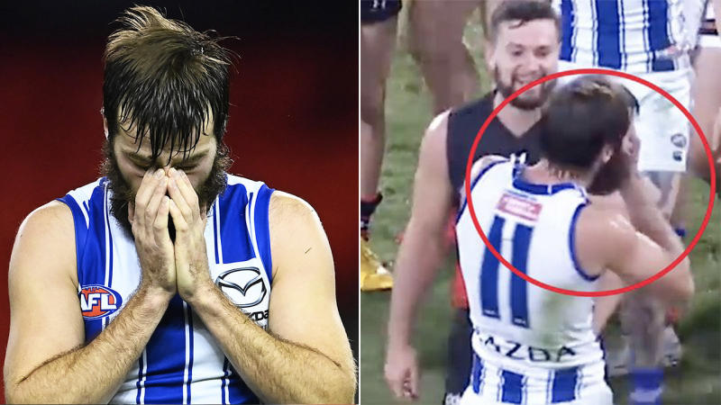 Luke McDonald (pictured left) disappointed and Essendon's Conor McKenna (pictured right with McDonald) getting fired up.