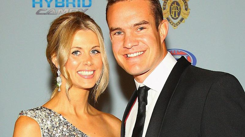 Anna and Brad Green pictured at the 2010 Brownlow Medal night. Pic: Getty