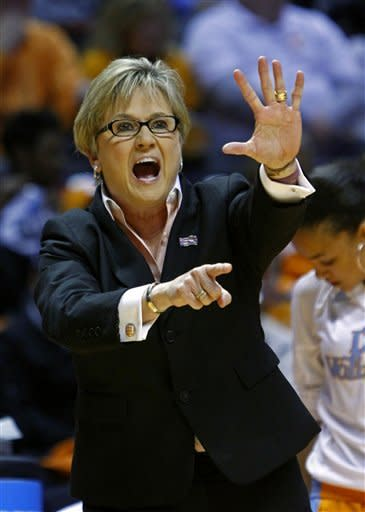 Tennessee head coach Holly Warlick directs her team in the first half of a second-round game in the women's NCAA college basketball tournament against Creighton on Monday, March 25, 2013, in Knoxville, Tenn. (AP Photo/Wade Payne)