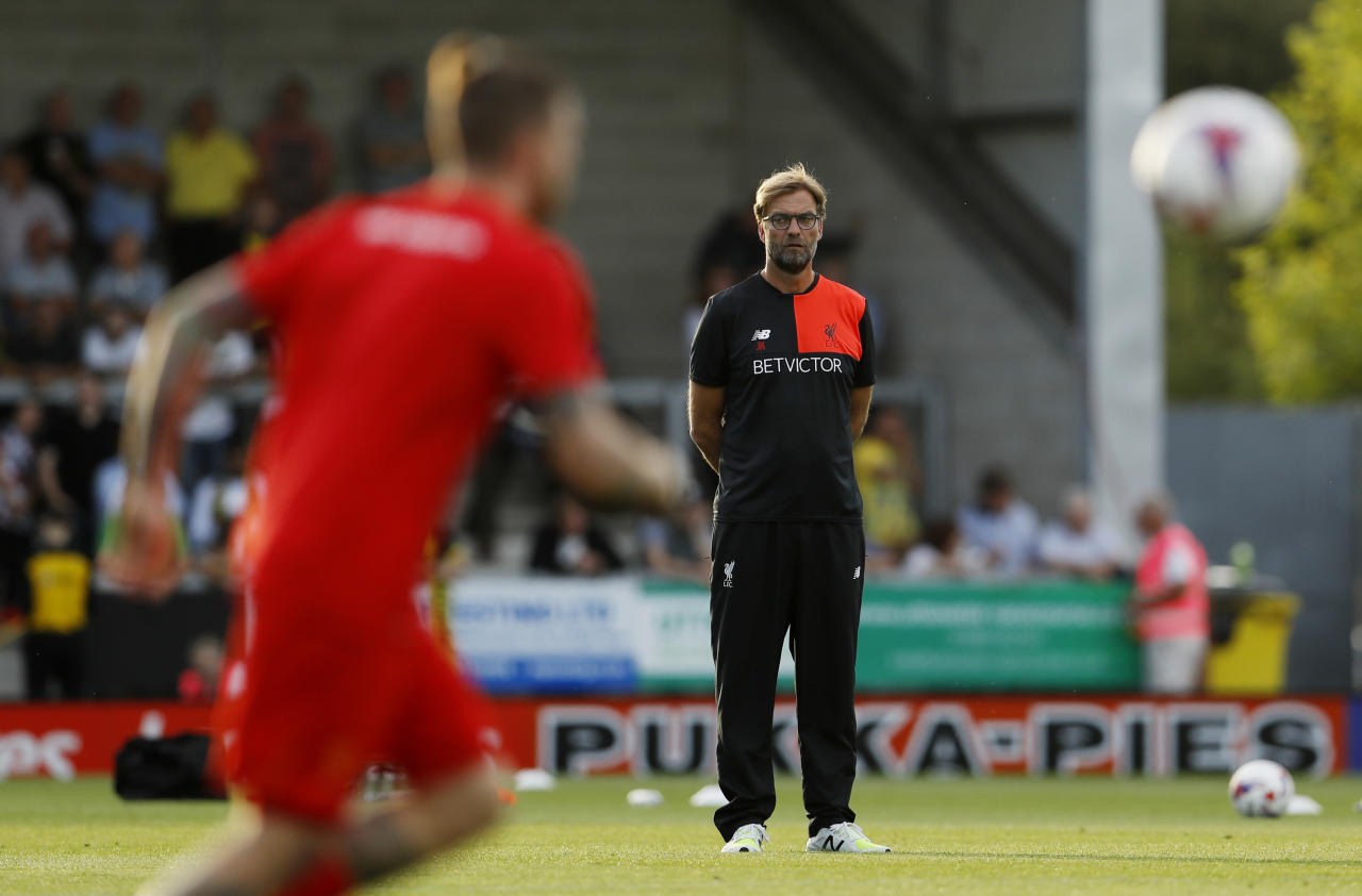 "Football Soccer Britain - Burton Albion v Liverpool - EFL Cup Second Round - Pirelli Stadium - 23/8/16 Liverpool manager Juergen Klopp during the warm up before the match  Action Images via Reuters / Lee Smith Livepic EDITORIAL USE ONLY. No use with unauthorized audio, video, data, fixture lists, club/league logos or ""live"" services. Online in-match use limited to 45 images, no video emulation. No use in betting, games or single club/league/player publications.  Please contact your account representative for further details."
