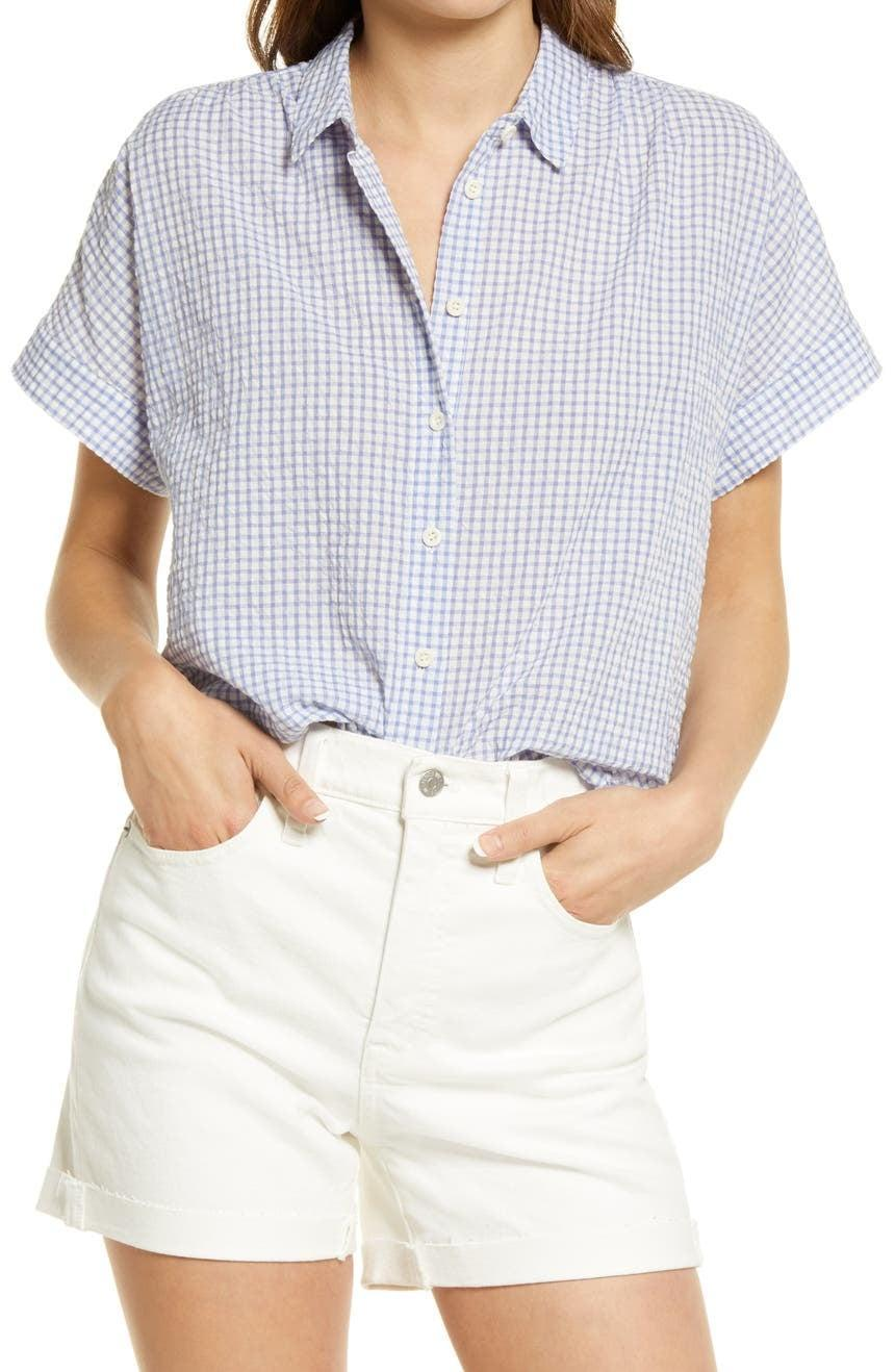 <p>For the days you want to stay cool but still look dressed up, get the <span>Madewell Hilltop Gingham Check Seersucker Shirt</span> ($80). The lightweight material will make sure you don't overheat, and it's easy to pair with just about anything.</p>