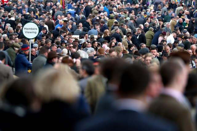 Crowds during day four of the Cheltenham Festival at Cheltenham Racecourse (Andrew Matthews/PA)