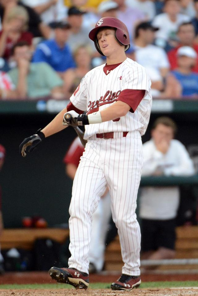 OMAHA, NE - JUNE 25: Tanner English #3 of the South Carolina Gamecocks reacts to his strikeout in the fifth inning against the Arizona Wildcats during game 2 of the College World Series at TD Ameritrade Field on June 25, 2012 in Omaha, Nebraska. (Photo by Harry How/Getty Images)