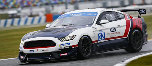 The No. 22 Multimatic Motorsports Ford Mustang GT4 that will be driven by Hailie Deegan and Chase Briscoe.