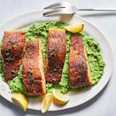 "<p>Cooking butter until it browns adds a toasty, nutty flavor to this easy skillet salmon recipe. Here it gives Old Bay-rubbed salmon a chef-worthy finish--not bad for 20 minutes! <a href=""http://www.eatingwell.com/recipe/278552/old-bay-salmon-with-lemony-mashed-peas/"" rel=""nofollow noopener"" target=""_blank"" data-ylk=""slk:View recipe"" class=""link rapid-noclick-resp""> View recipe </a></p>"