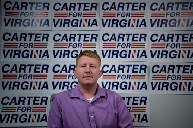Democrat Lee Carter, a democratic socialist, won an election Tuesday to represent Virginia's 50th District in the state's House of Delegates. (BRENDAN SMIALOWSKI/Getty Images)
