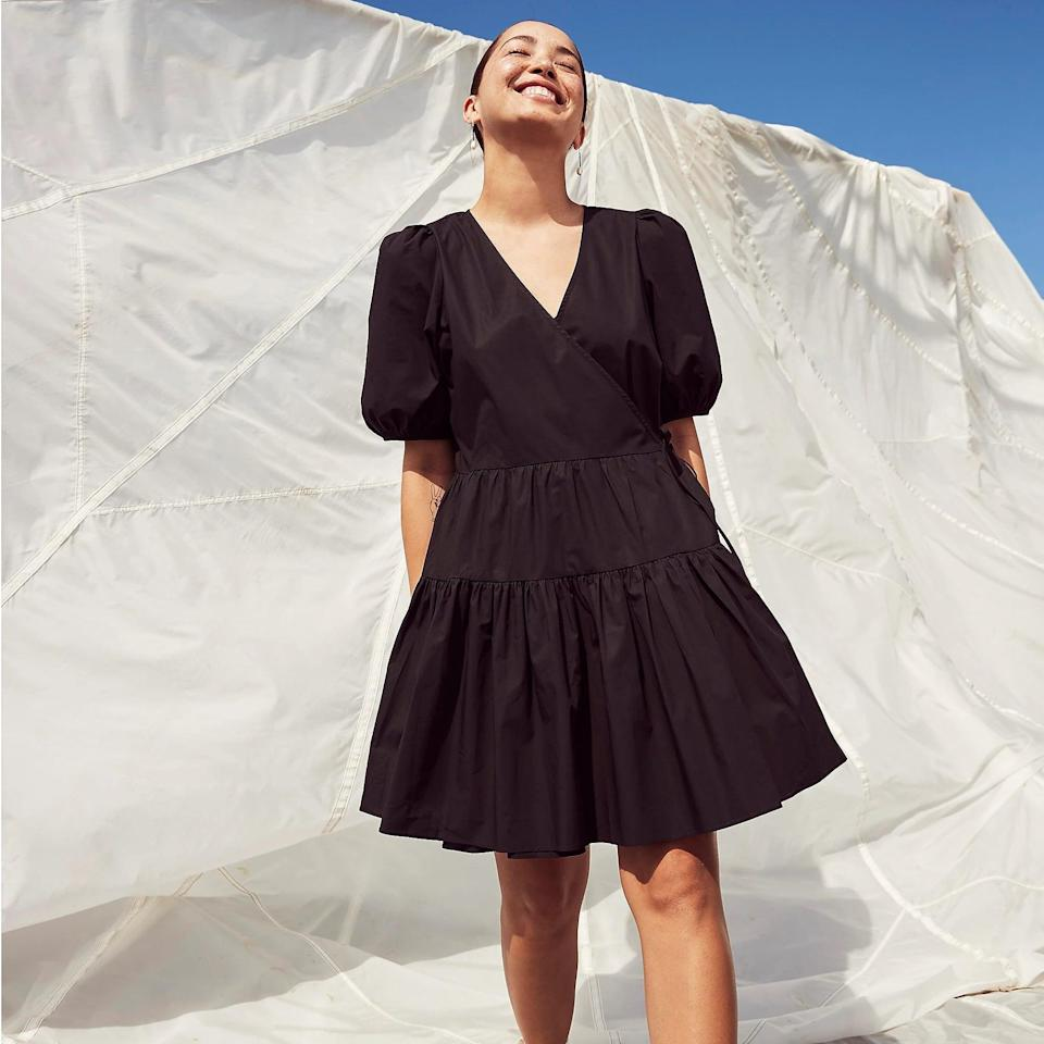 <p>We don't know about you, but we love a one-and-done outfit, and this <span>Puff-sleeve Cotton Poplin Wrap Dress</span> ($53 with code SALEONSALE) is looking like it right now. We're planning to live in easygoing and polished styles like this all summer long.</p>