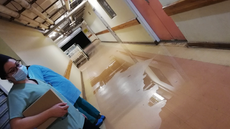 A flooded corridor at Dora Nginza Hospital in South Africa