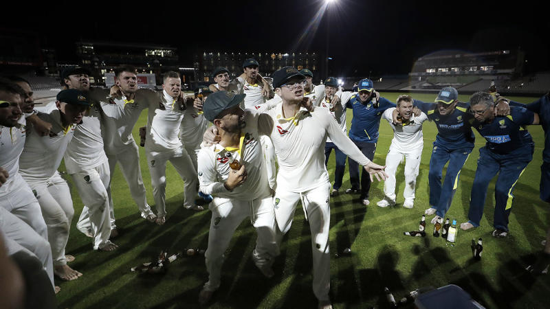 Nathan Lyon and Steve Smith, pictured here celebrating their Ashes triumph.