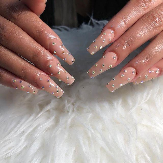 """<p>Nails deserve accessories, too. Adding tiny studs or gems in a polka dot pattern is a simple way to elevate any manicure.</p><p><a class=""""link rapid-noclick-resp"""" href=""""https://www.amazon.com/Supplies-Charms-Triangle-Decorations-Accessories/dp/B07SBDCCXY/?tag=syn-yahoo-20&ascsubtag=%5Bartid%7C10055.g.29799716%5Bsrc%7Cyahoo-us"""" rel=""""nofollow noopener"""" target=""""_blank"""" data-ylk=""""slk:SHOP NAIL STUDS"""">SHOP NAIL STUDS </a></p><p><a href=""""https://www.instagram.com/p/BtJ21ijl0lB/&hidecaption=true"""" rel=""""nofollow noopener"""" target=""""_blank"""" data-ylk=""""slk:See the original post on Instagram"""" class=""""link rapid-noclick-resp"""">See the original post on Instagram</a></p>"""