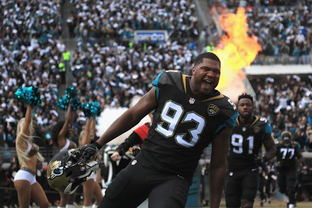 <p>Defensive end Calais Campbell #93 of the Jacksonville Jaguars takes the field before the start of the AFC Wild Card Playoff game against the Buffalo Bills at EverBank Field on January 7, 2018 in Jacksonville, Florida. (Photo by Mike Ehrmann/Getty Images) </p>