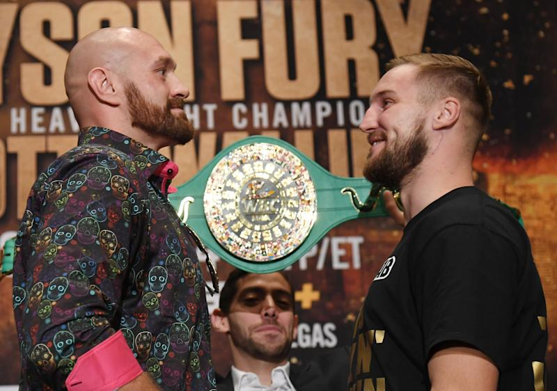 LAS VEGAS, NEVADA - SEPTEMBER 11: Boxers Tyson Fury (L) and Otto Wallin face off during a news conference at MGM Grand Hotel & Casino on September 11, 2019 in Las Vegas, Nevada. The two will meet in a heavyweight bout on September 14 at T-Mobile Arena in Las Vegas. (Photo by Ethan Miller/Getty Images)
