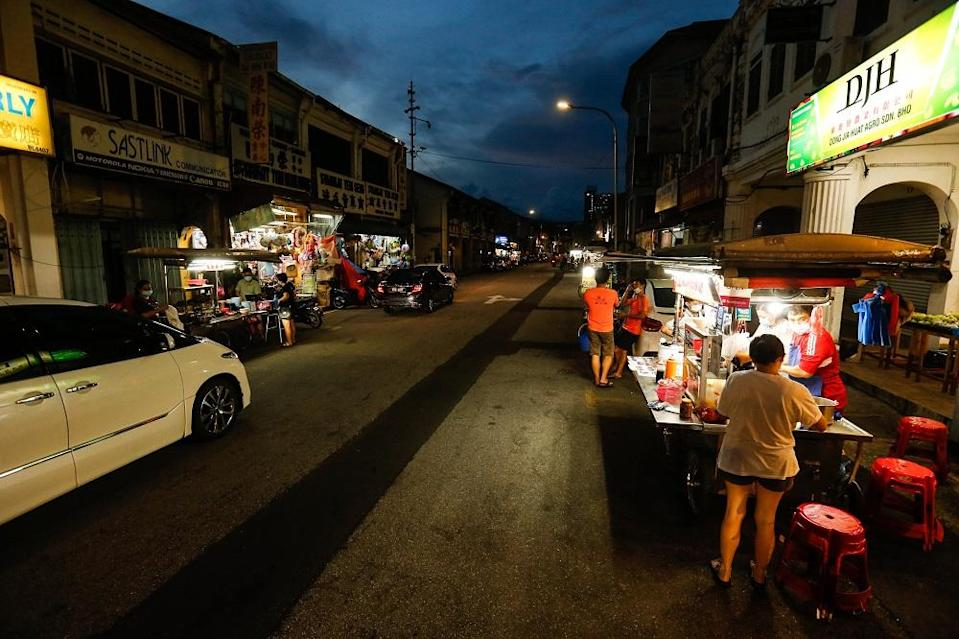 A view of Kimberly Street Hawker Centre during the conditional movement control order in George Town December 1, 2020.