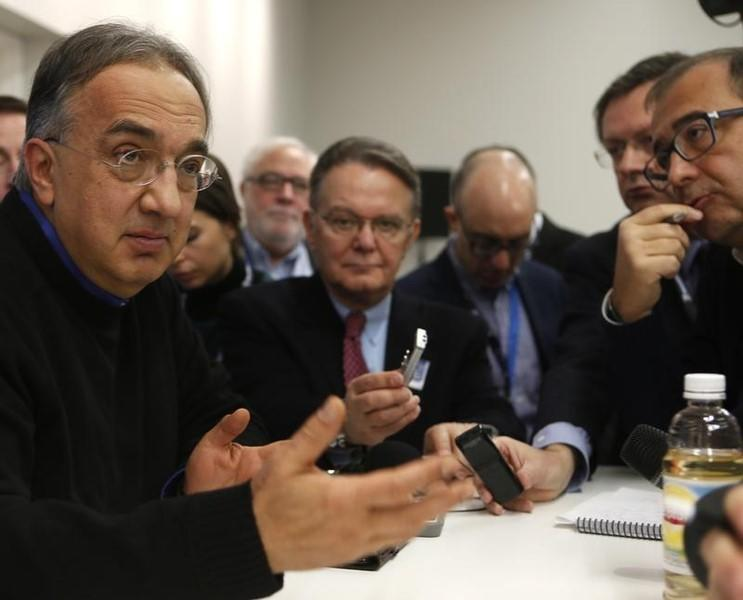 Chief Executive of Fiat Chrysler Sergio Marchionne speaks during the first press preview day of the North American International Auto Show in Detroit