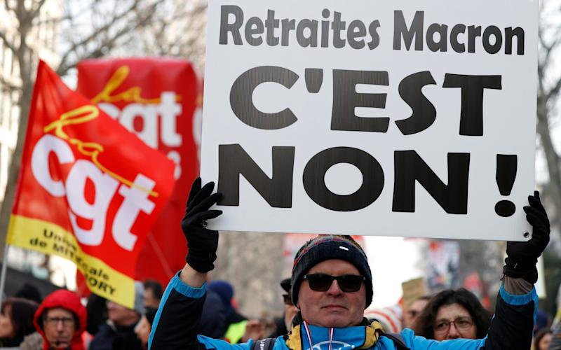 French unions staged a seventh national day of protest against pension reform, which was presented to ministers - REUTERS