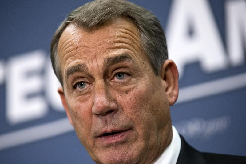 Speaker of the House John Boehner, R-Ohio, joined by the Republican leadership speaks to reporters about the fiscal cliff negotiations with President Obama following a closed-door strategy session, at the Capitol in Washington, Tuesday, Dec. 18, 2012.  (AP Photo/J. Scott Applewhite)