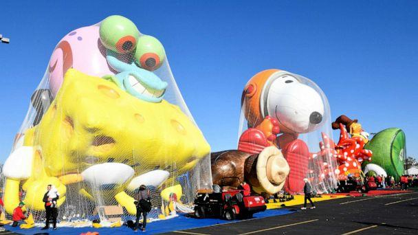 PHOTO: The balloons are seen being inflated as Macy's unveils new giant character balloons for the 93rd annual Macy's Thanksgiving Day Parade at MetLife Stadium, Nov. 2, 2019 in East Rutherford, N.J. (Eugene Gologursky/Getty Images for Macy's Inc.)