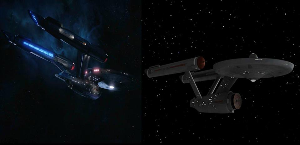 Side-by-side glimpses of the <em>Discovery</em> and the original<em> Enterprise.</em>