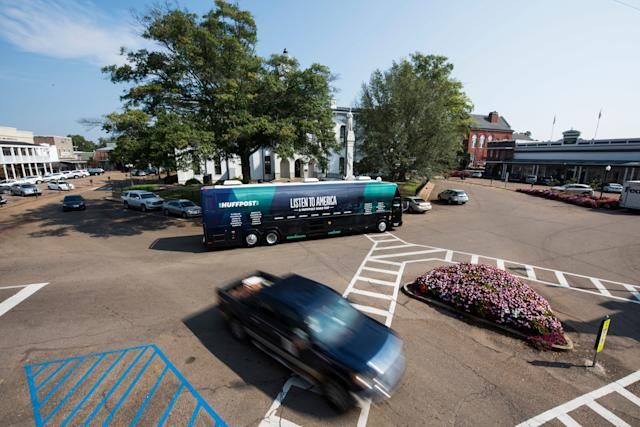 The HuffPost Tour bus pulls up in front of the Lafayette County Courthouse on it's visit to Oxford, Mississippi.