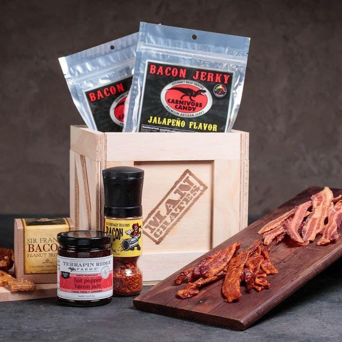 """<p><strong>Mancrates</strong></p><p>mancrates.com</p><p><strong>$59.99</strong></p><p><a href=""""https://go.redirectingat.com?id=74968X1596630&url=https%3A%2F%2Fwww.mancrates.com%2Fstore%2Fproducts%2Fbacon-crate&sref=https%3A%2F%2Fwww.goodhousekeeping.com%2Fholidays%2Fgift-ideas%2Fg34102268%2Fbest-gift-baskets-for-men%2F"""" rel=""""nofollow noopener"""" target=""""_blank"""" data-ylk=""""slk:Shop Now"""" class=""""link rapid-noclick-resp"""">Shop Now</a></p>"""