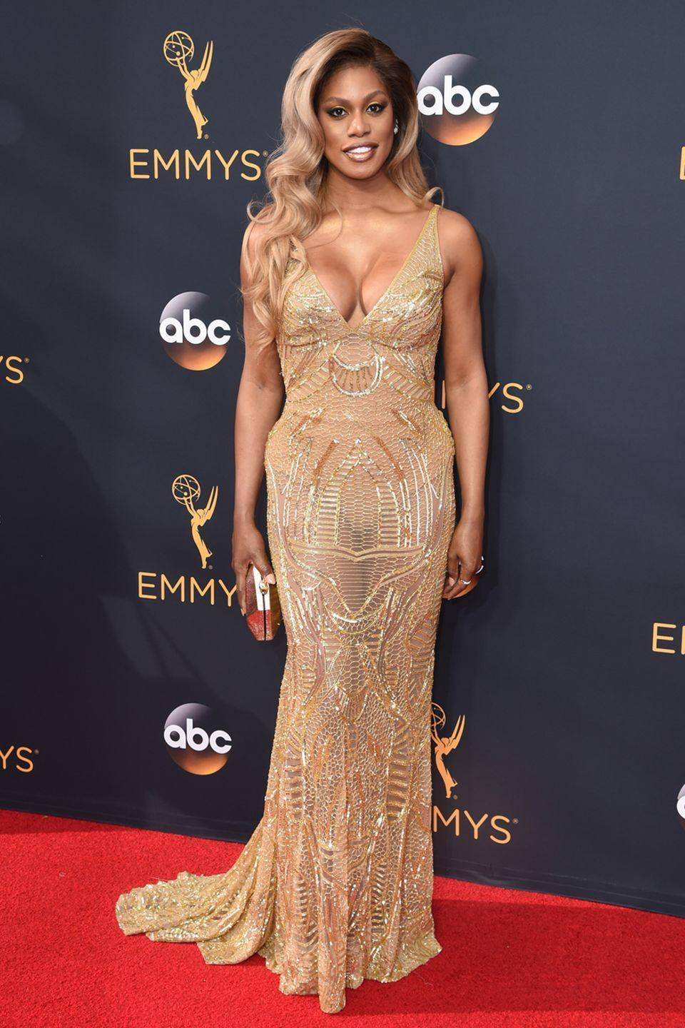 <p>The <em>Orange Is the New Black</em> star brought glitz and glam to the red carpet in sheer Naeem Khan in 2016.</p>
