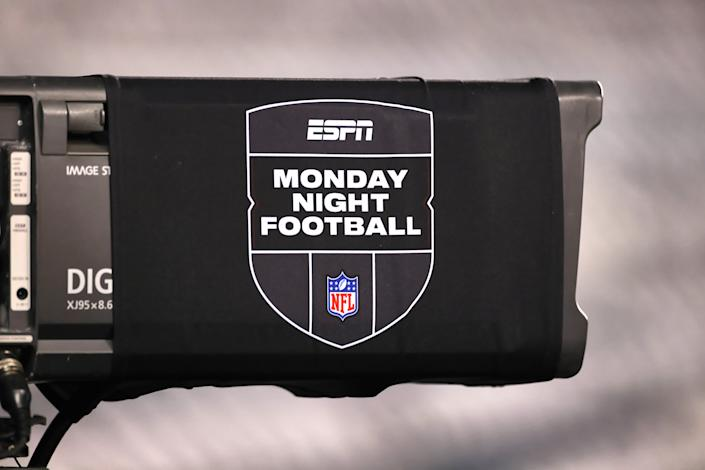 CHICAGO, IL - NOVEMBER 16: a detail view of the ESPN Monday Night Football NFL logo is seen on a tv camera in action during a NFL game between the Minnesota Vikings and the Chicago Bears on November 16, 2020 at Soldier Field, in Chicago, IL.  (Photo by Robin Alam/Icon Sportswire via Getty Images)