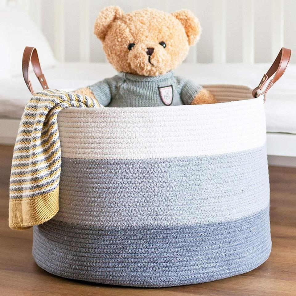 """<p>The <span>CHLOÉ + KAI Woven Rope Storage Basket (20"""" x 13"""")</span> ($18, originally $26) is a cute way to store toys, linens, throw blankets and more.</p>"""