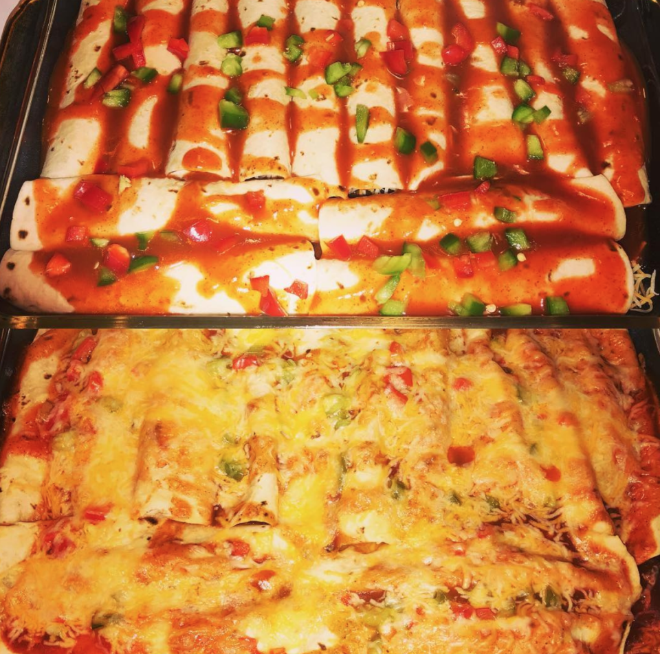 """<p>For a twist on a classic, try <a rel=""""nofollow noopener"""" href=""""https://www.jamieoliver.com/recipes/vegetables-recipes/veggie-enchiladas/"""" target=""""_blank"""" data-ylk=""""slk:Jamie Oliver's twist on a Mexican classic"""" class=""""link rapid-noclick-resp"""">Jamie Oliver's twist on a Mexican classic</a> filled with grilled veg, black beans and fresh coriander. [Photo: Instagram/reciesbears] </p>"""