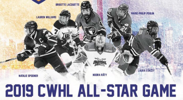 Team Gold defeated Team Purple in the 2019 CWHL All-Star game by a score of 8-4. (Twitter // @ambrose_13)