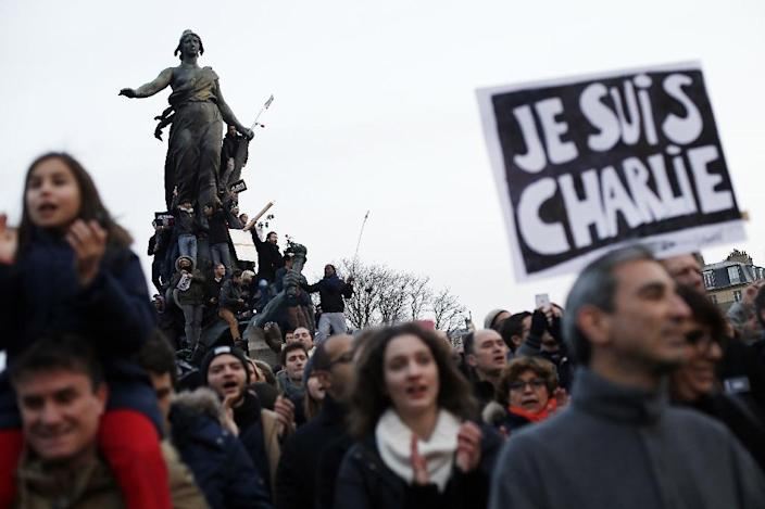 """The slogan """"Je Suis Charlie"""" was quickly picked up after the Charlie Hebdo shooting up as an estimated one million people marched in a mass outpouring of solidarity in Paris (AFP Photo/Thomas Samson)"""