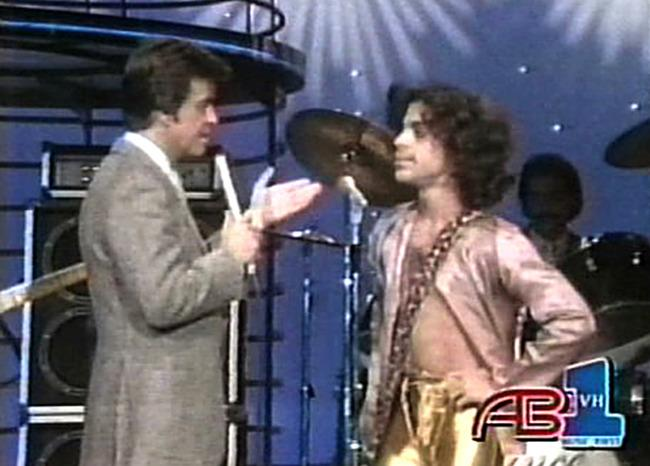 <p>In one of his first television appearances, a 21-year-old Prince totally flummoxed Dick Clark and gave audiences an early look at his irrepressible, sexually-charged stage persona.</p><p>(Credit: VH1)</p>