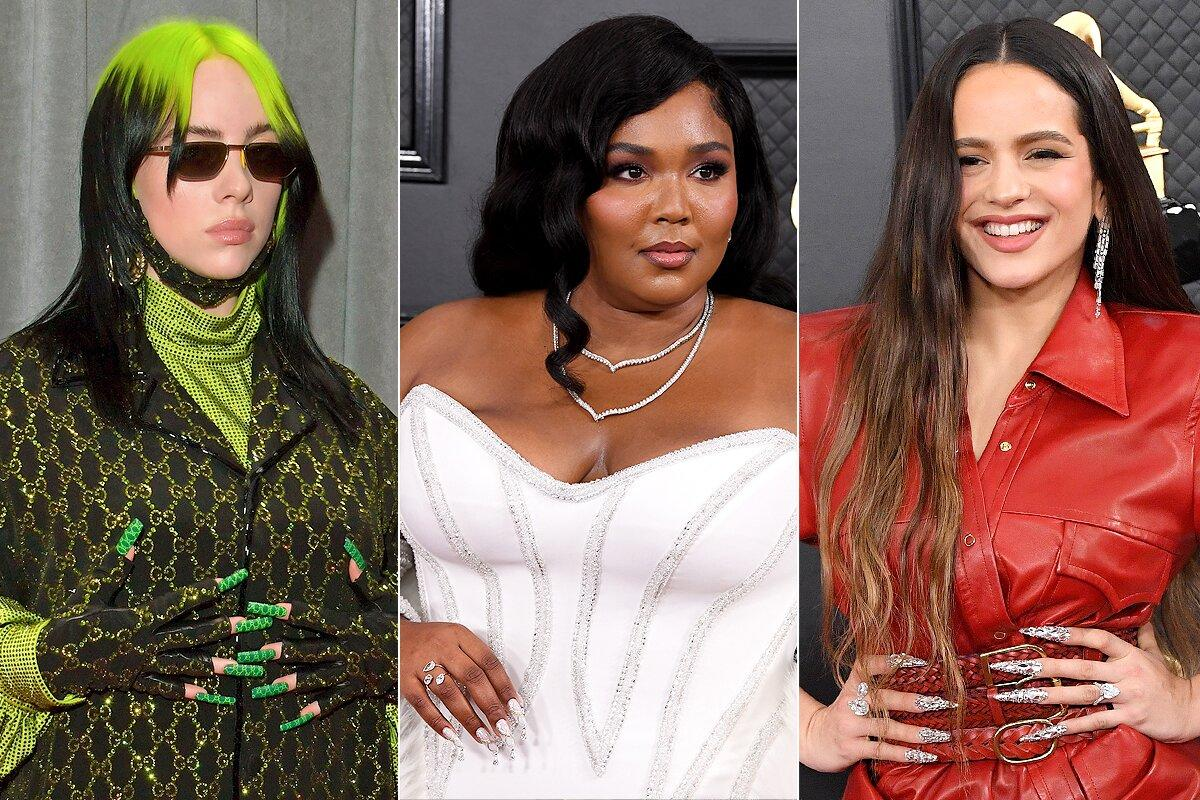 Billie Eilish (in Gucci), Lizzo (in Atelier Versace) and Rosalía (in Alexander Wang) expertly matched their talons featuring intricate nail art designs with their ensembles.