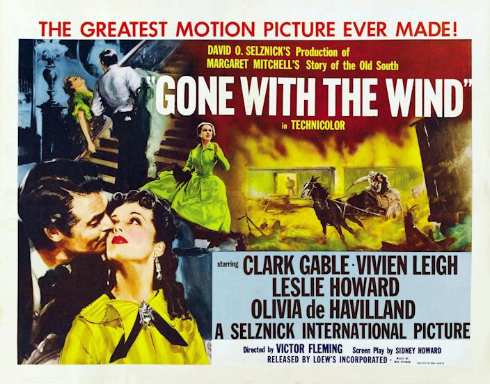 Gone With The Wind, poster, left from left: Clark Gable, Vivien Leigh on 1950s. (Photo by LMPC via Getty Images)