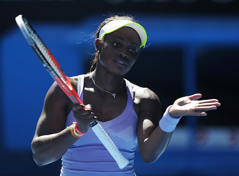 Sloane Stephens of the US reacts during her semifinal match against Victoria Azarenka of Belarus at the Australian Open tennis championship in Melbourne, Australia, Thursday, Jan. 24, 2013. (AP Photo/Andrew Brownbill)