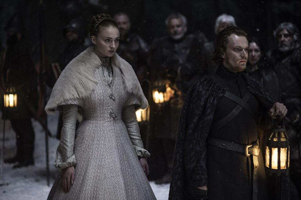 <p>On the night of her wedding to Ramsay Bolton, Sansa wears a gorgeous white gown with a fur shawl-very much in line with her Northern roots. However, almost every inch of skin is covered by layers and layers of fabric, like armor against the union. </p>