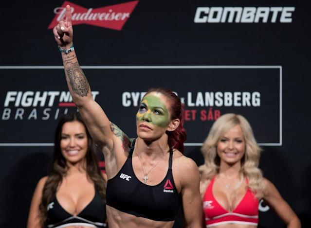It took Cris 'Cyborg' Justino a little more than one round to finish off Lina Lansberg. (Getty)